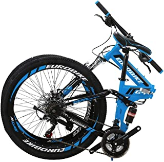 YSFWL 24 Inch Bike Folding Mountain Bikes Adult Student Variable Speed Bicycle Portable Cyclings Foldable Bicycles,Carbon Steel Bike Shimanos Bicycle Full Suspension MTB Outdoor Cyclings