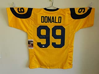 AARON DONALD SIGNED AUTO ST LOUIS RAMS YELLOW COLOR RUSH JERSEY JSA AUTOGRAPHED