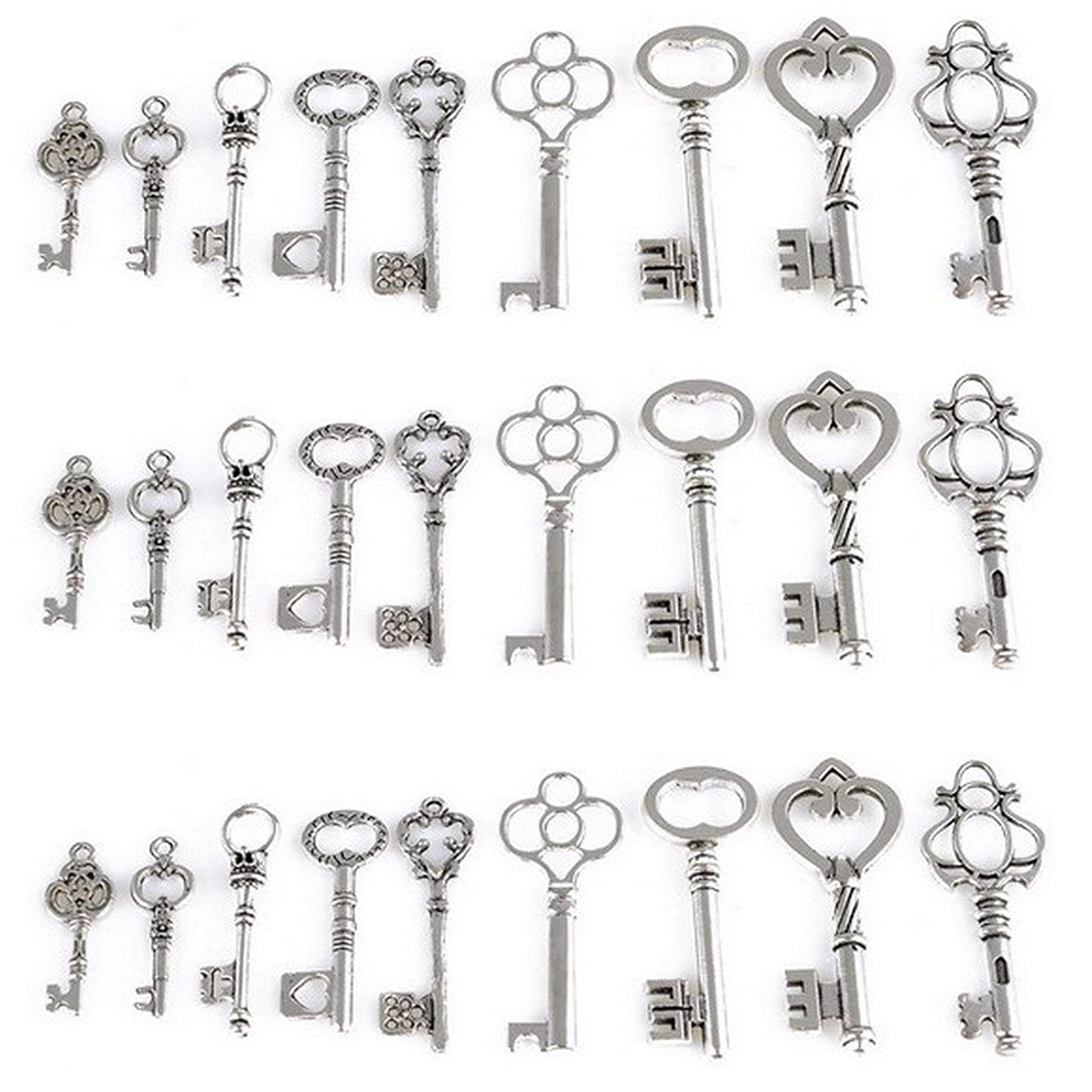 AlphaAcc Skeleton Key Charm Set in Antique Silver 9 Different Styles - Vintage Style Key Charms (45 Charms) (Silver)