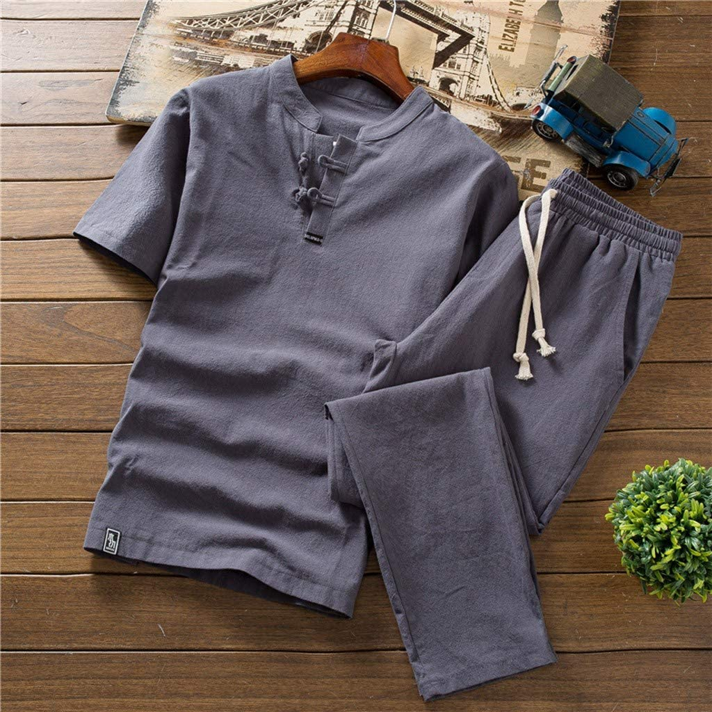 Summer Beach Casual Holiday Solid Color Slim Fit Suits Shirt+Yoga Long Pant by-Leegor Cotton Linen Outfits Sets for Men