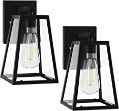 DEWENWILS 2-Pack Indoor Outdoor Wall Light, Clear Glass Shade, Matte Black Finish, E26 Socket, Weather Resistant, Exterior...