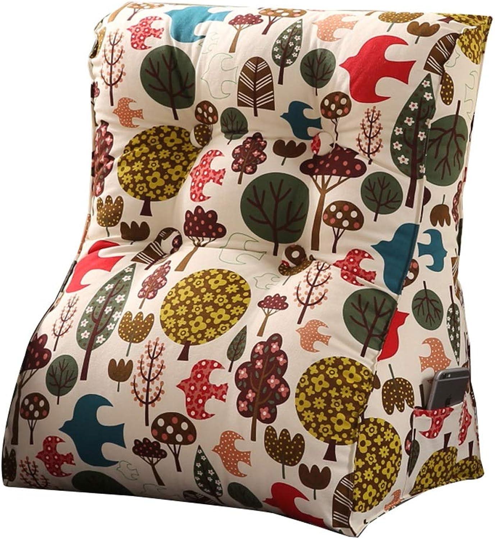 Triangle pad backrest pad Cotton Canvas Pillow Sofa Bed Office Chair Rest cushion (color   D, Size   L)