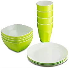 PLASTI HOME Reusable Plastic Dinnerware Set (12pcs) – Ideal For Kids. Fancy Hard Plastic Plates, Bows & Cups In Green Colors – Microwaveable & Dishwasher Safe Flatware & Tumblers For Daily Use,