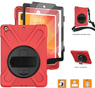 iPad 10.2 2019 Case with Screen Protector,TSQ Heavy Duty Hybrid Dropproof Silicone Rugged Protection Defender Girls Case with Swivel Stand/Hand Handle Strap/Shoulder Strap for iPad 7th Generation,Red