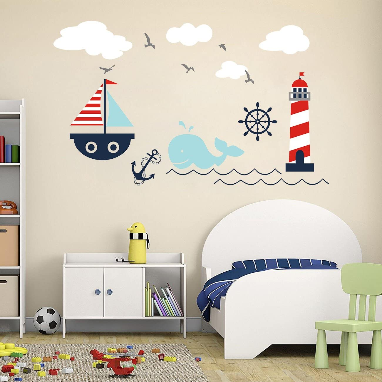 Higoss Nautical Cheap Baby Nursery Wall Lighthouse Decal Whale Special Campaign Sai and