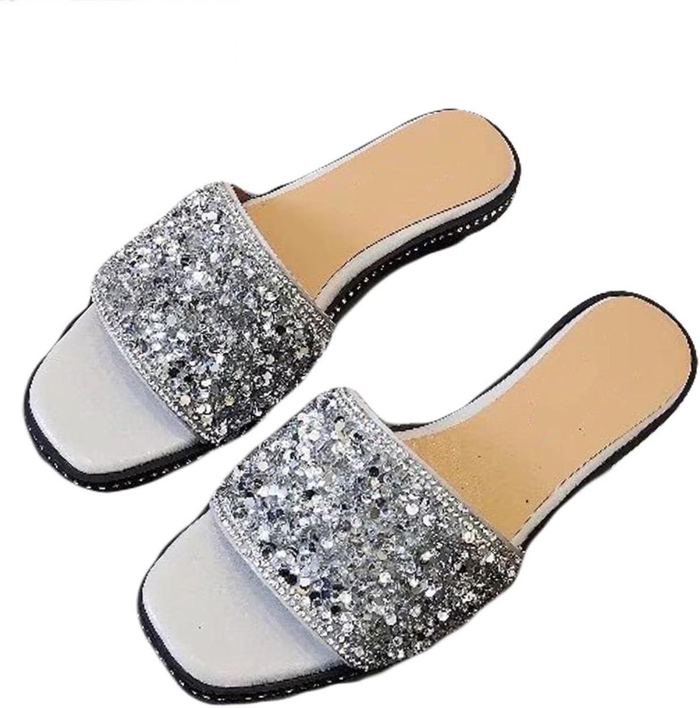 Women Sequins Rhinestone Slides Flat Rubber Non-slip Indoor Slippers