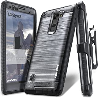 LG Stylo 2 /LG Stylo 2 Plus/LG Stylo 2 V, COVRWARE [Iron Tank] Built-in [Screen Protector] Heavy Duty Full-Body Rugged Holster Armor [Brushed Metal Texture] Case [Belt Clip][Kickstand], Black