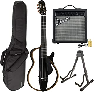 Yamaha SLG200N TBL Nylon Silent String Acoustic Electric Guitar Translucent Black with the Donner 10W Electric Guitar Amplifier, Gigbag, and Guitar Stand