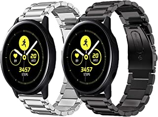Olytop Compatible Samsung Galaxy Watch Active2 44mm 40mm Bands / Galaxy Watch 42mm Bands, 20mm Stainless Steel Metal Bands Replacement Strap Band Bracelet for Women Men Smartwatch - Black+Silver