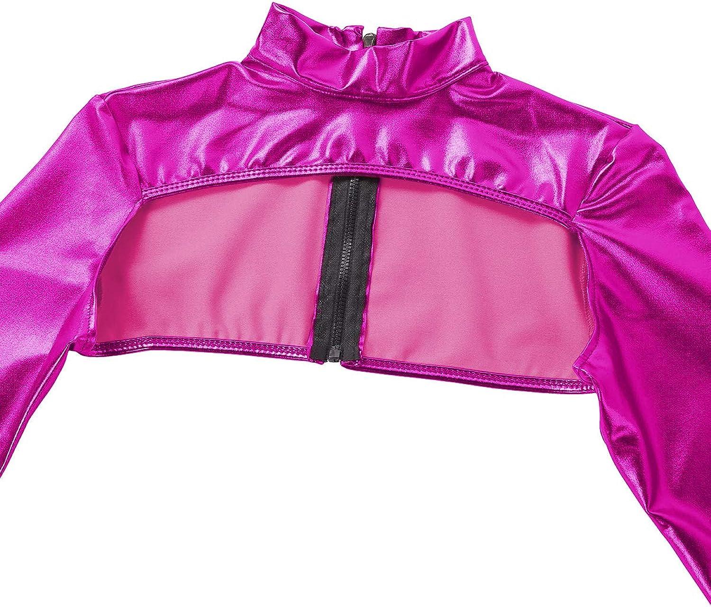 FEESHOW Damen Wetlook Crop Tops Metallic Shirt Langarm Jacke Kurz Oberteile Bluse Bauchfrei Clubwear GoGo Tanz Rose