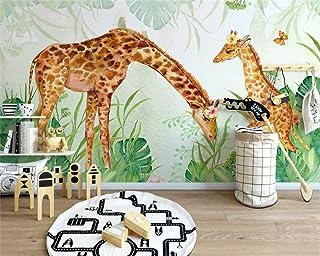 TIANXINBZ Custom papel de parede 3d wallpaper forest tropical plants leaves giraffe landscape background papier peint,100c...