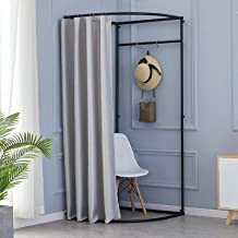 YXYECEIPENO Semi-Circular Fitting Room Standing Overalls Changing Room Curtain Kits and Metal Frame Shelves Removable, Eas...