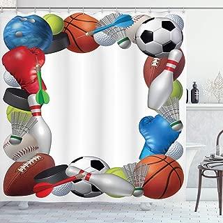 Aliyz Marco con Equipamiento Deportivo de Baloncesto, Boxeo, Golf, Bolos, bádminton, diseño, baño, Cortina de Ducha, Durable, fácil de Limpiar, Tela Impermeable para baño, Ducha, Hotel