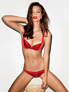 27fb14178 Emily Ratajkowsk Red Silk Bra and Underwear Modeling Full Photo (8 inch by 10  inch