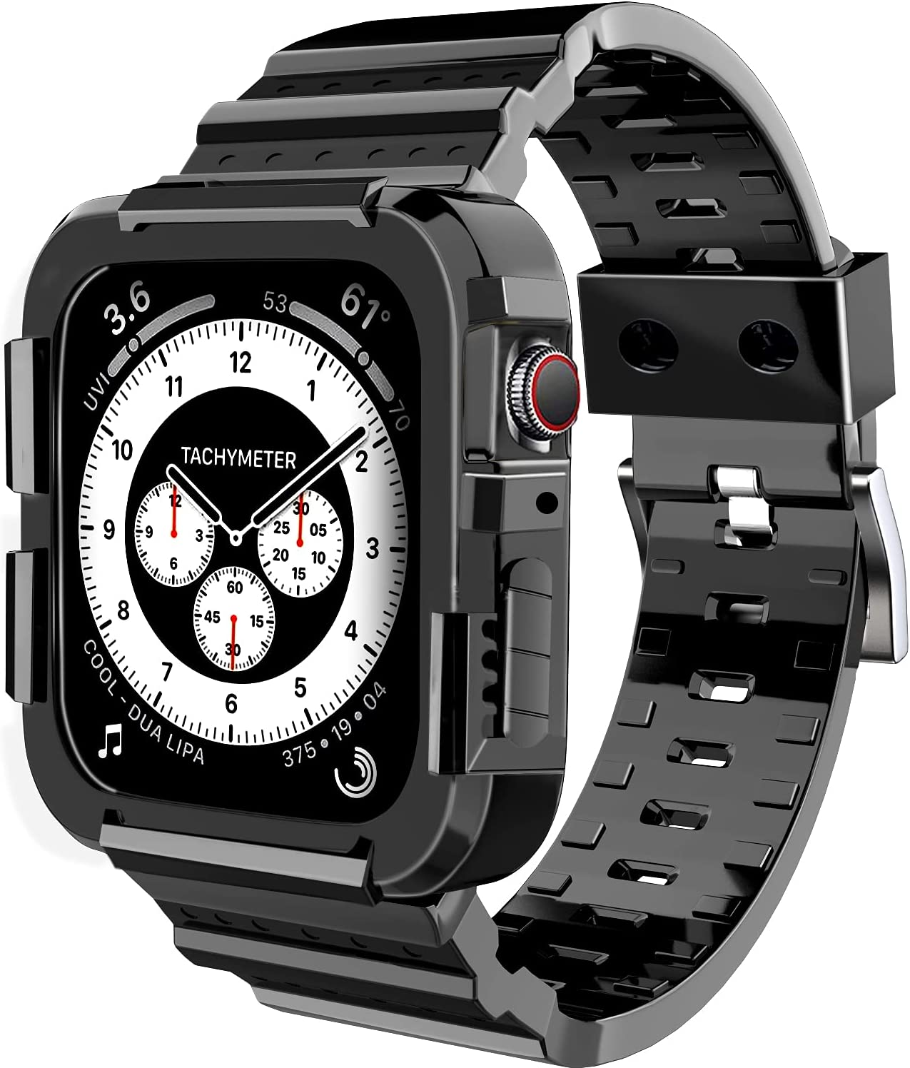 SLYEN Black Apple Watch Band with Case Compatible with Apple Watch 42mm 44mm Men Women,Rugged TPU Replacement Strap with Protective Bumper for iWatch Series SE/6/5/4/3/2