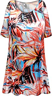 c66e950132d Metallic Floral Abstract Slinky Print Plus Size Extra Long A-Line Top