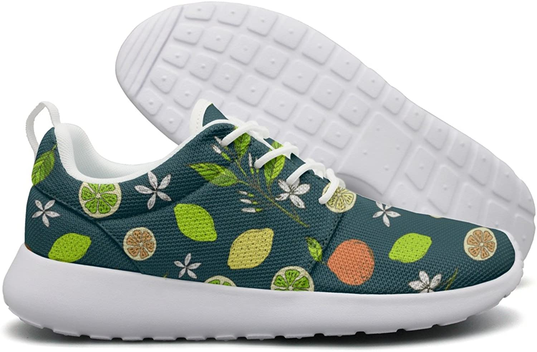 Hoohle Sports Citrus Pattern with Yellow Lemons Slice Womens Roshe One Flex Mesh Mens Running shoes