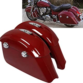 TCT-MT Saddle Bag Hard Saddlebags & Electronic Latch Lid For Indian Chieftain Dark Horse Springfield 2016-2018; Chieftain Limited Roadmaster Classic 2017-2018; Chieftain Elite 2017 Red