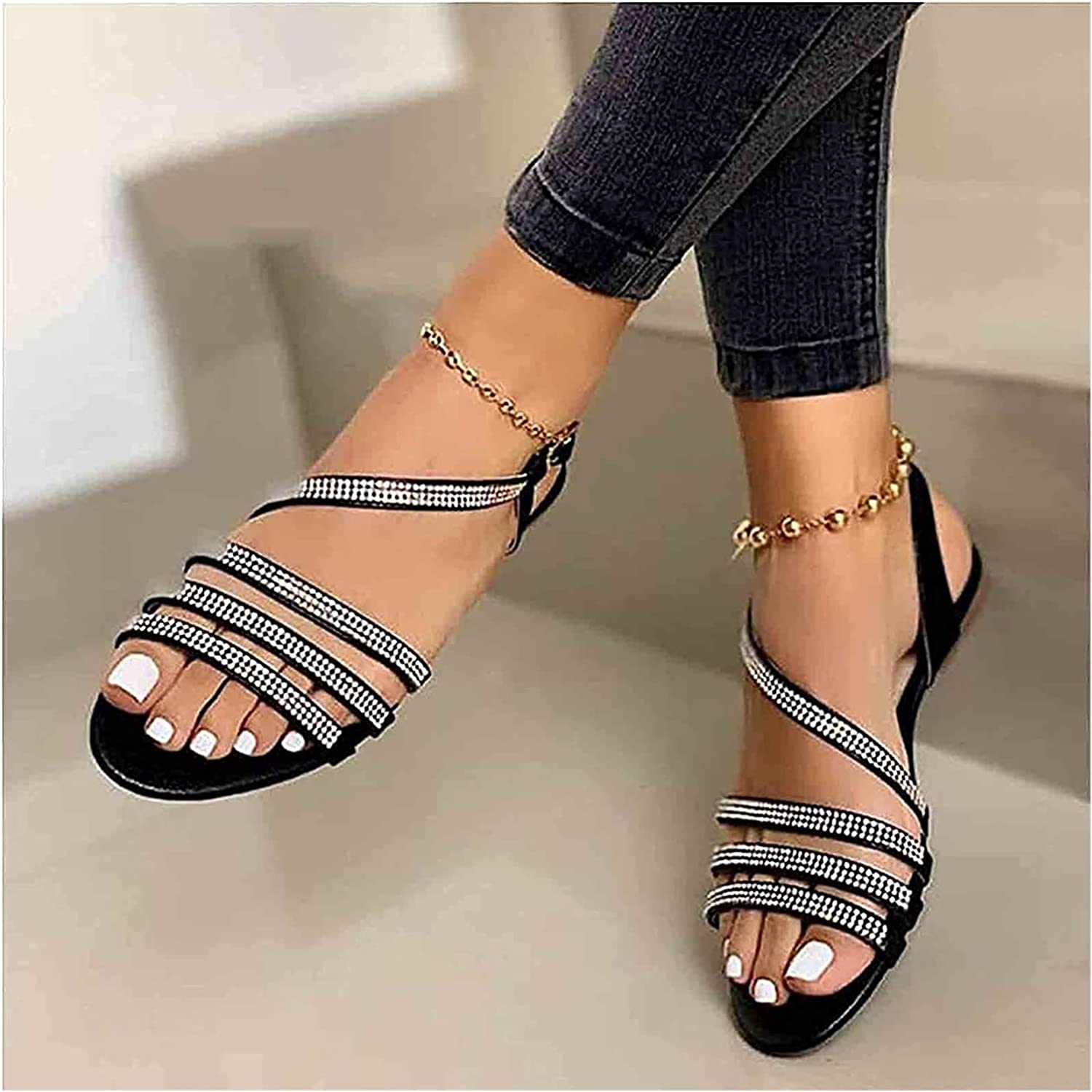 Women's Open Toe Sandals Flat Summer Rhinestone Flower Bead Beach Flip Flops Anti Slip Slippers Outdoor Crystal Beach Sandals for Vacation (Color : Gold, Size : 37)