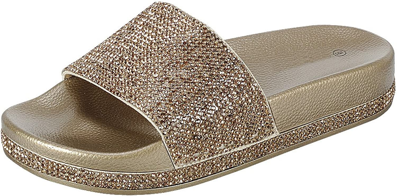 Cambridge Select Women's Crystal Rhinestone Studded Glitter Open Toe Slip-On Flat Slide Sandal