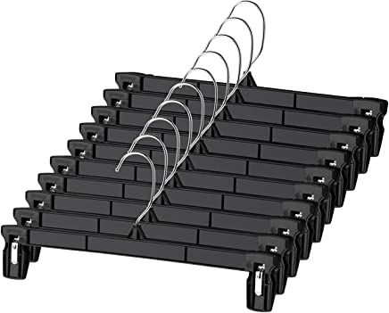 Titan Mall Pants Hangers 30 Pack 12inch Black Plastic Skirt Hanger with Non-Slip Big Clips and 360 Rotatable Hook, Durable and Sturdy Plastic Hanger, Elegant and Economical for Hanging Pants