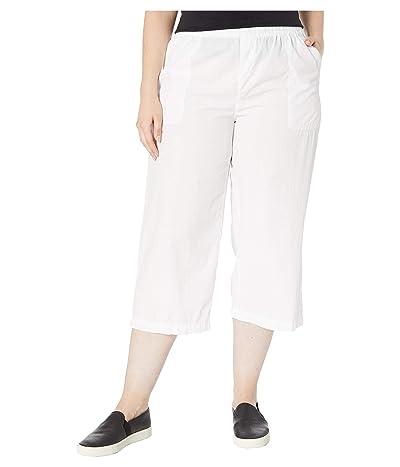 Fresh Produce Plus Size Beachcomber Cotton Poplin Capris (White) Women