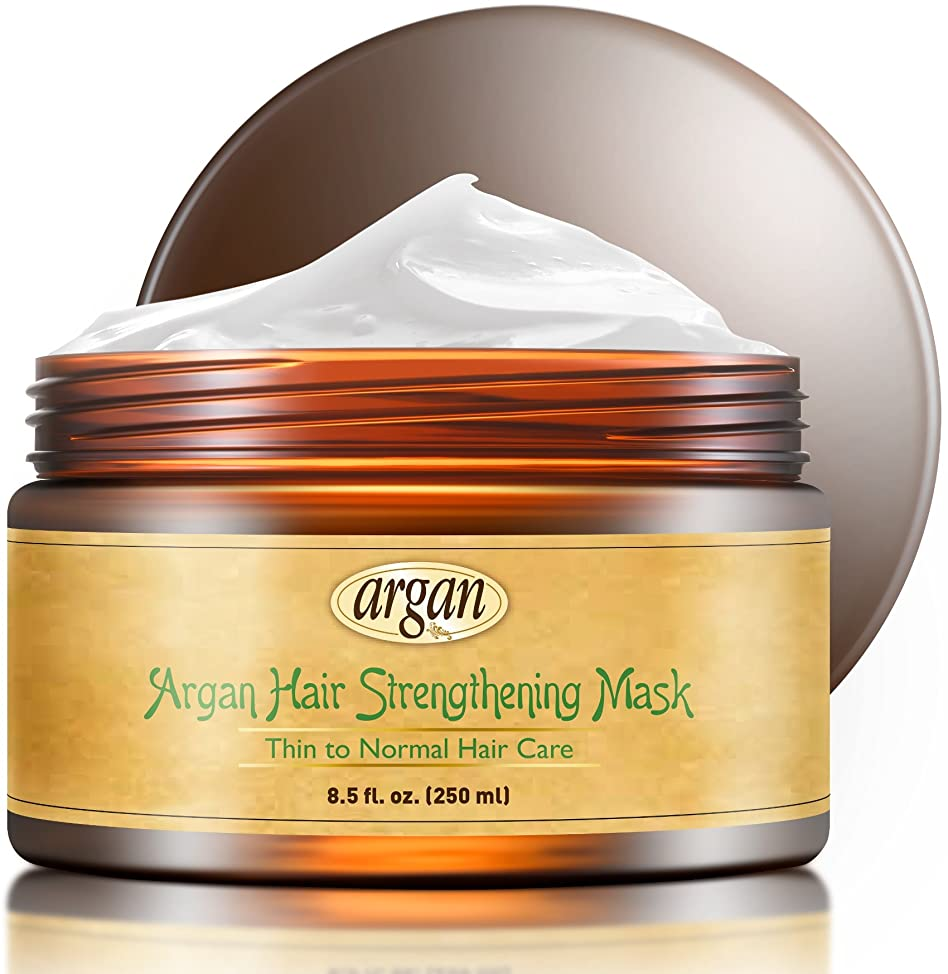Vitamins Hair Strengthening Mask Deep Conditioner - Thin Fine Hair Care Moroccan Argan Product to Encourage Hair Growth & Reduce Hair Loss