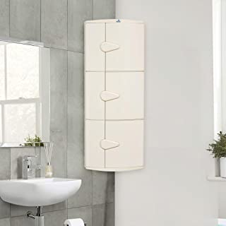 Nilkamal 3 Door Corner Storage Plastic Cabinet White