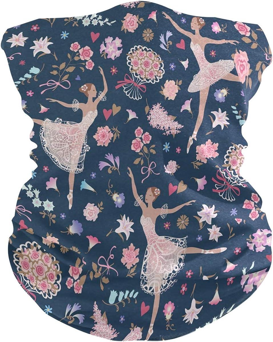 ALAZA Dancing Ballet Floral Blossom Headwear Magic Scarf Headband Bandana Neck Gaiters Outdoor Sports for Women Men