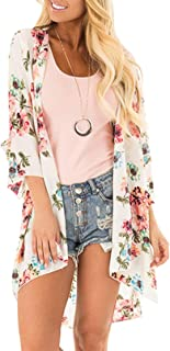 59836d8ef2 Women's 3/4 Sleeve Floral Kimono Cardigan, Sheer Loose Shawl Capes, Chiffon  Beach