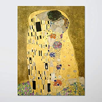 H5print Wall Art Posters The Kiss by Gustav Klimt Poster for Home Office Decoration 18x24 inches