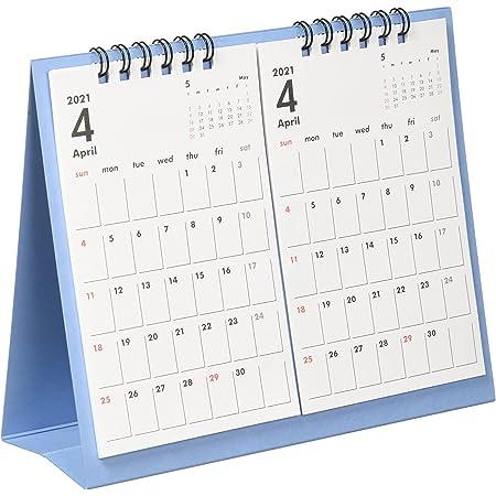 オーブ 2021年 カレンダー 4月始まり 卓上 2ヶ月 ブルー TMS-800BL