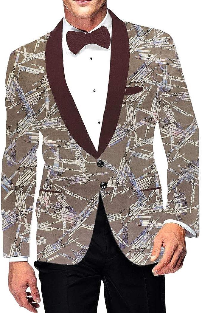 INMONARCH Mens Shawl Lapel Two Button Slim fit Olive Drab Blazer Sport Jacket Printed Coat SB19305