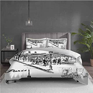 Edwiin Charles Eiffel Tower Extra Large Quilt Cover Paris Sketch Style Cafe Restaurant Landmark Canal Boat Lantern Retro Print Can be Used as a Quilt Cover-Lightweight (Twin) Black White