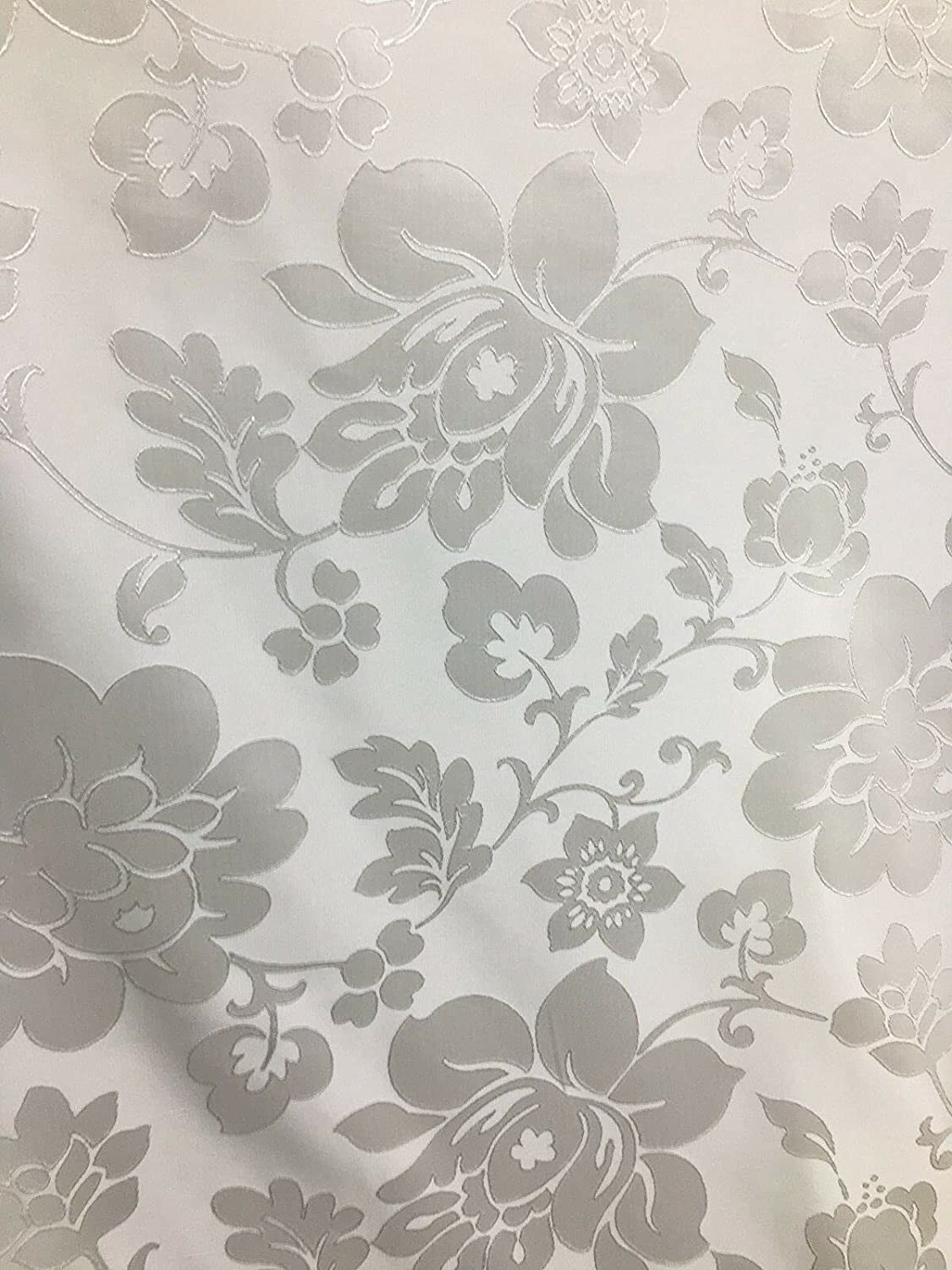 Fabric by The Yard - White Drap Limited time for free shipping Brocade Flower Upholstery famous Floral