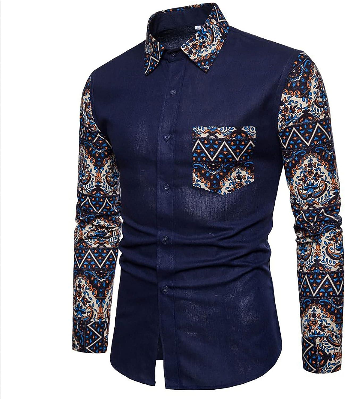 Bravetoshop Men's Button Down Shirt Classic Fit Printed Long Sleeve Casual Business Dress Shirt