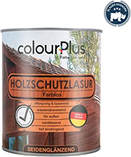 colourPlus Holzschutzlasur 750ml, farblos seidenglänzende Holzlasur Außen- Holz Grundierung - Holz Lasur - Holzlasur Aussen - Made in Germany