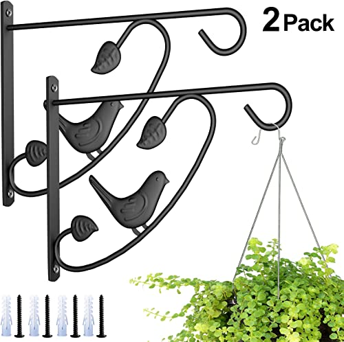 Amagabeli 2 Pack Hanging Plants Brackets 12in Wall Planter Hooks Flower Pot Bird Feeder Hanger for Fence Trees Wind C...