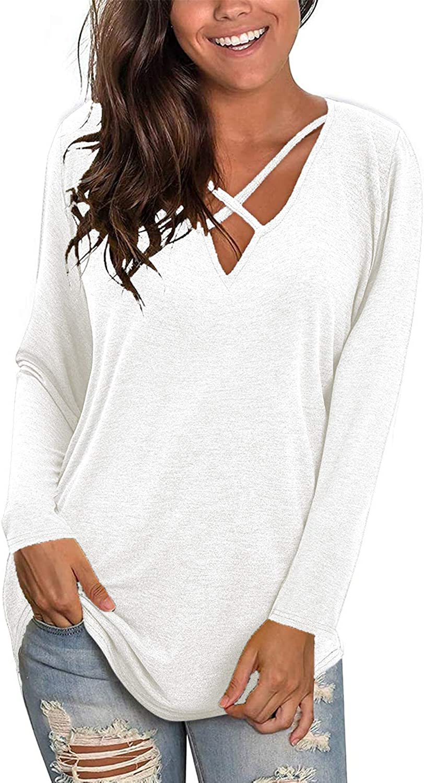 Womens V Neck T Shirts Short/Long Sleeve Sexy Criss Cross T-Shirt Tops Casual Loose Cotton Tees