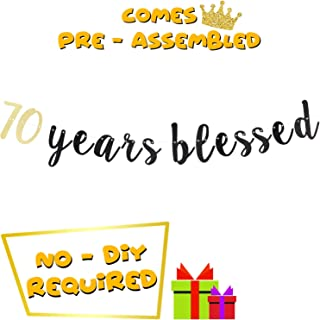 70th Happy Birthday Banner 70 Years Blessed Anniversary Seventy Fabulous Birthday Party Decoration Ideas Gift Cursive Sign