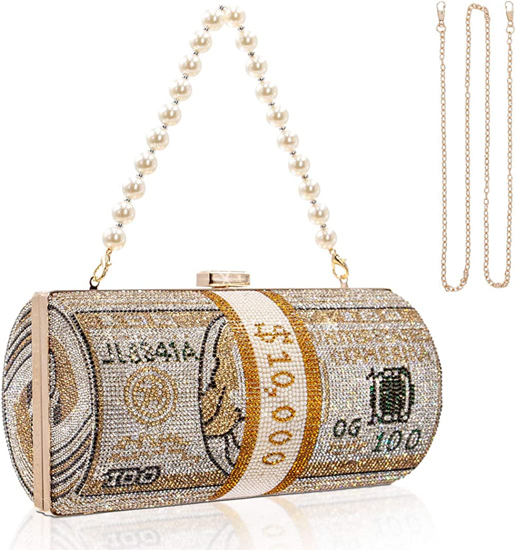 TANOSII Women Stack of Cash Clutc National uniform free shipping Rhinestone Max 57% OFF Bag Crystal Evening