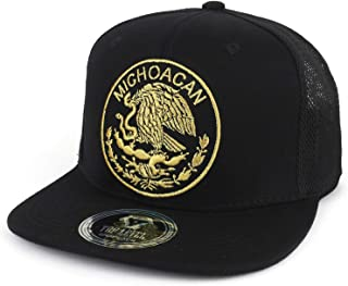 Trendy Apparel Shop City of Mexico Eagle Embroidered Flatbill Trucker Mesh Cap