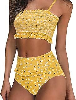 Women's Shirred Bandeau Bikini Top High Waisted Bottom 2 Piece Swimsuits Bikini Set