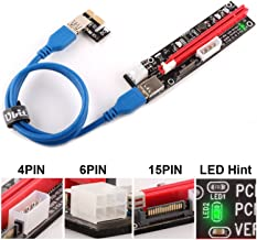 Ubit Multi-Interface PCI-E Riser with Led Notice Function Express Cable 1X to 16X Graphics Extension Ethereum ETH Mining Powered Riser Adapter Card+60cm USB 3.0 Cable
