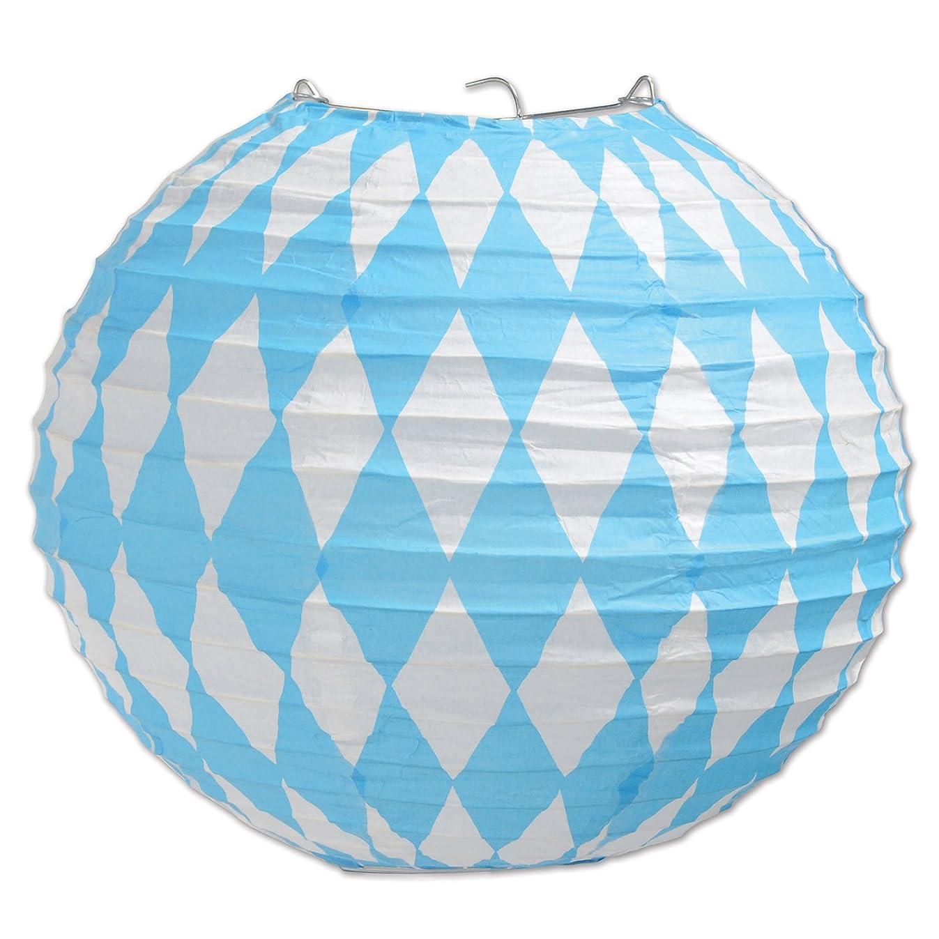 Beistle 54548 Oktoberfest Paper Lanterns, 9-1/2-Inch, Blue/White