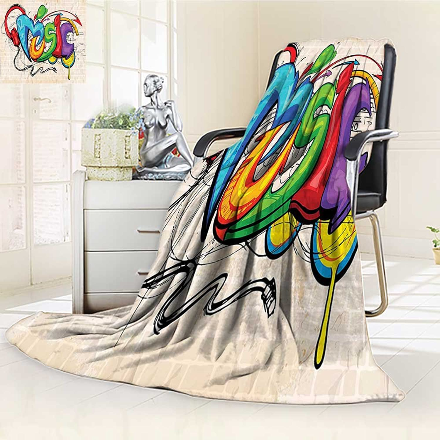 YOYI-HOME Super Soft Lightweight Duplex Printed Blanket Music of Graffiti Style Music Lettering Headphones Hip Hop Rhythm Tempo Hipster Concept Multi Oversized Travel Throw Cover Blanket  W39.5 x H59