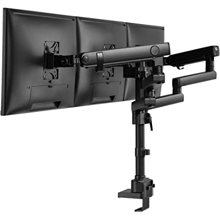 """AVLT Triple 13""""-27"""" Monitor Arm Desk Mount fits Three Flat/Curved Monitor Full Motion Height Swivel Tilt Rotation Adjustable Monitor Arm - Extra Tall/VESA/C-Clamp/Grommet/Cable Management"""