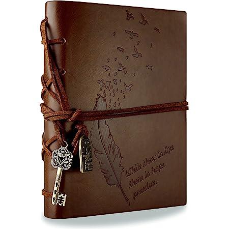 RYMALL Retro Notebook Copertura del Cuoio di Chiave Magica String 160 Blank Jotter Diario (Brown)