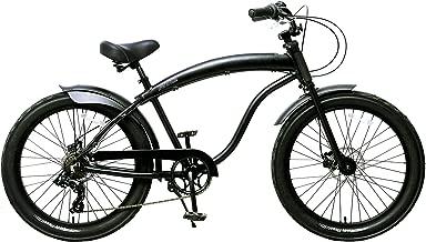 Fito Men's Modena GT-2 Aluminum Alloy 7-Speed Beach Cruiser Bike, Matte Black, 18