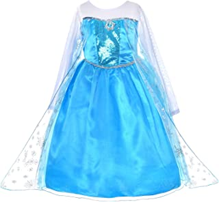 Princess Dress Up Costumes for Little Girls Birthday Party with Cloak Fancy 2-10 Years